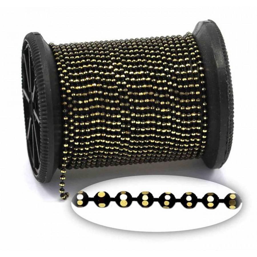 """Επίχρυση μεταλλική ΨΙΛΗ αλυσίδα """"καζανάκι""""1.5mm διαμανταρισμένη σε χρυσαφί-μαύρο     τιμή ανα μέτρο"""