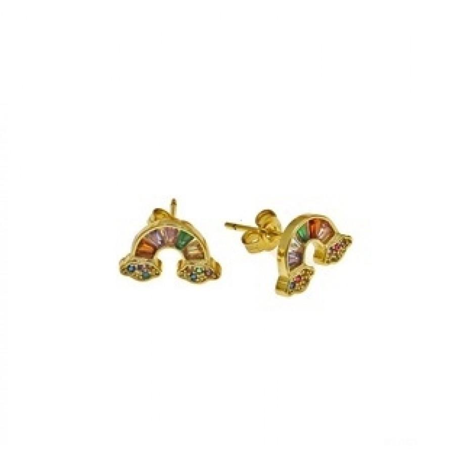 """Ατσάλινα σκουλαρίκια """"ουράνιο τόξο"""" 10mm επίχρυσο με χρωματιστά ζιργκόν"""