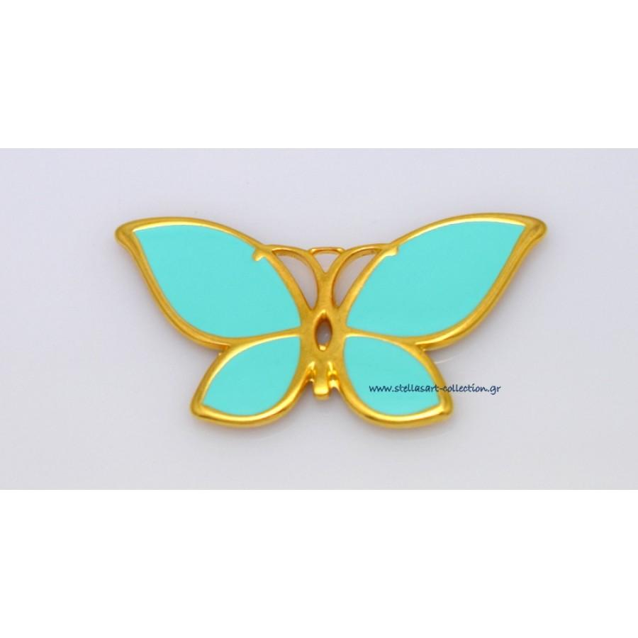 Μεταλλικό μενταγιόν πεταλούδα ΜΕΓΑΛΗ 52 x 28 mm με μυτερά φτερά και βεραμάν σμάλτο      τιμή ανα τεμάχιο(προσφορά)