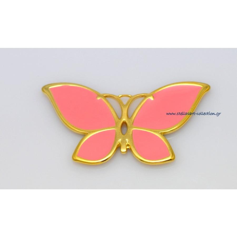 Μεταλλικό μενταγιόν πεταλούδα ΜΕΓΑΛΗ 52 x 28 mm με μυτερά φτερά και κοραλί σμάλτο      τιμή ανα τεμάχιο(προσφορά)