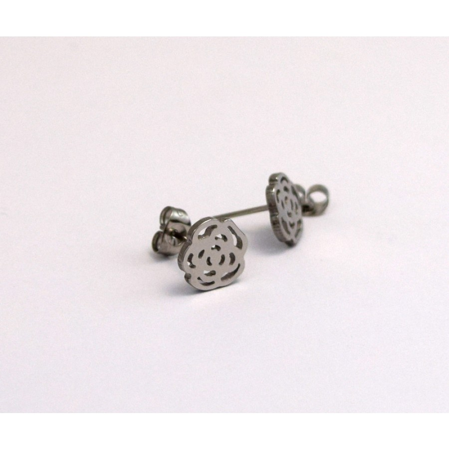 Ατσάλινα σκουλαρίκια τριαντάφυλλο με καρφάκι  12mm περίγραμμα  Τιμή ανα ζευγάρι