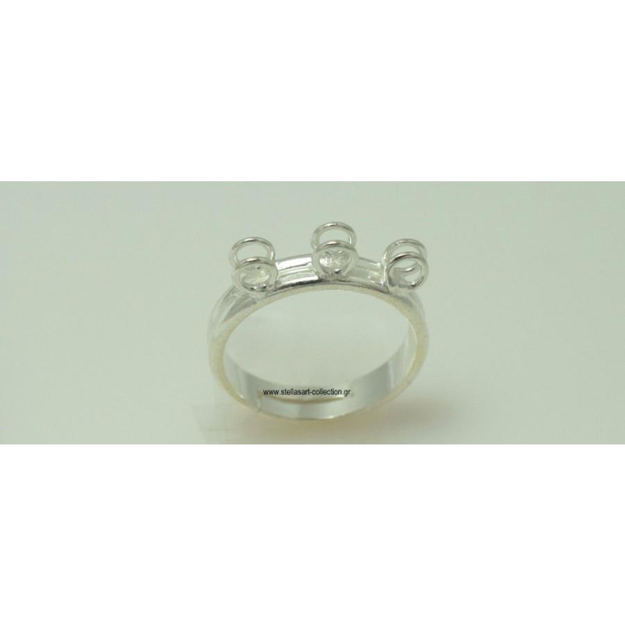 Ασημένια βάση δαχτυλιδιού με έξι κρικάκια για να κρεμάσετε οτι θέλετε και ανοιχτή απο κάτω  τιμή ανα τεμάχιο