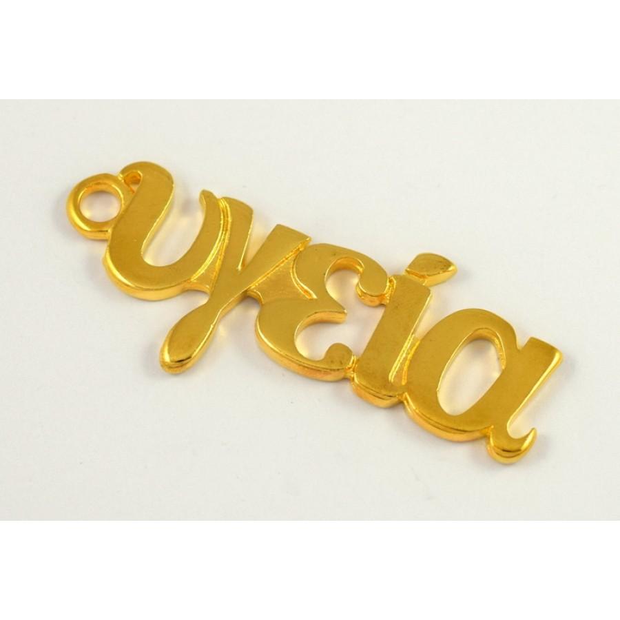 """Μεγάλο μεταλλικό κρεμαστό """"υγεία"""" 26 x 58 mm σε χρυσό γυαλιστερό     τιμή ανα τεμάχιο"""