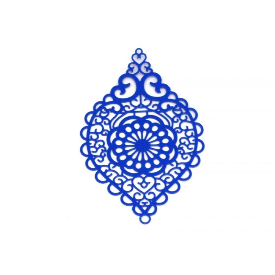 Μεταλλικο ορειχάλκινο μοτίφ σταγόνα φιλιγκρί 38x58mm σε μπλε ρουά χρώμα     τιμή ανα τεμάχιο