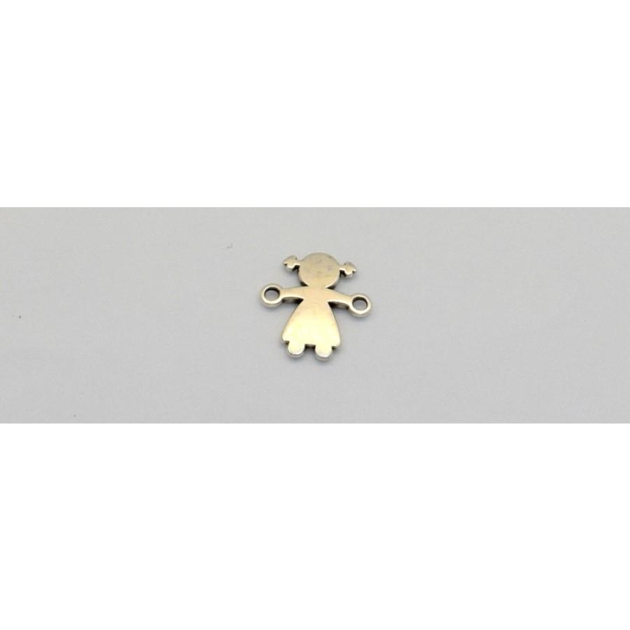 Μεταλλικό μοτίφ κοριτσάκι 9x14mm-με κρικάκια στα χεράκια- σε ασημί αντικέ     τιμή ανα τεμάχιο