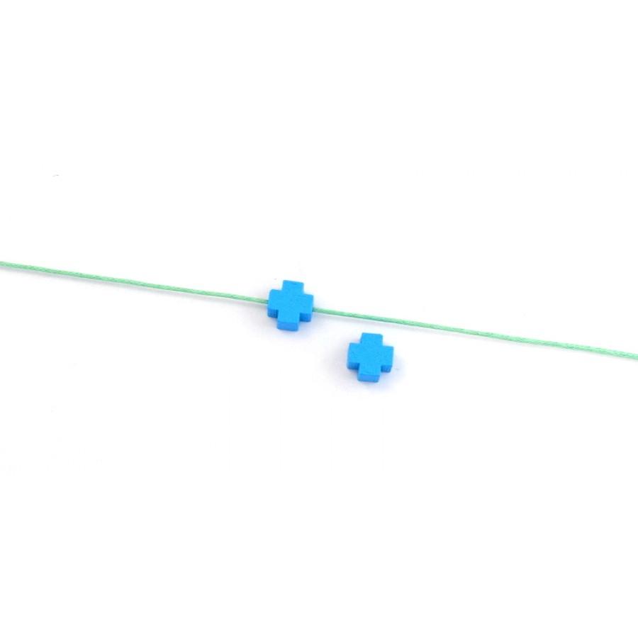 Ξύλινη χάντρα σταυρός 8mm με τρυπα 1.3mm σε γαλάζιο χρώμα τιμή ανα τεμάχιο