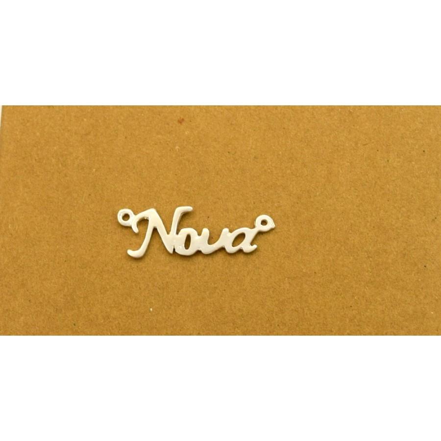 """Μοτίφ """"Νονα""""27x10mm με δύο κρικάκια στις άκρες από  ασήμι 925 κατάλληλο για κολιέ τιμή ανα τεμάχιο"""