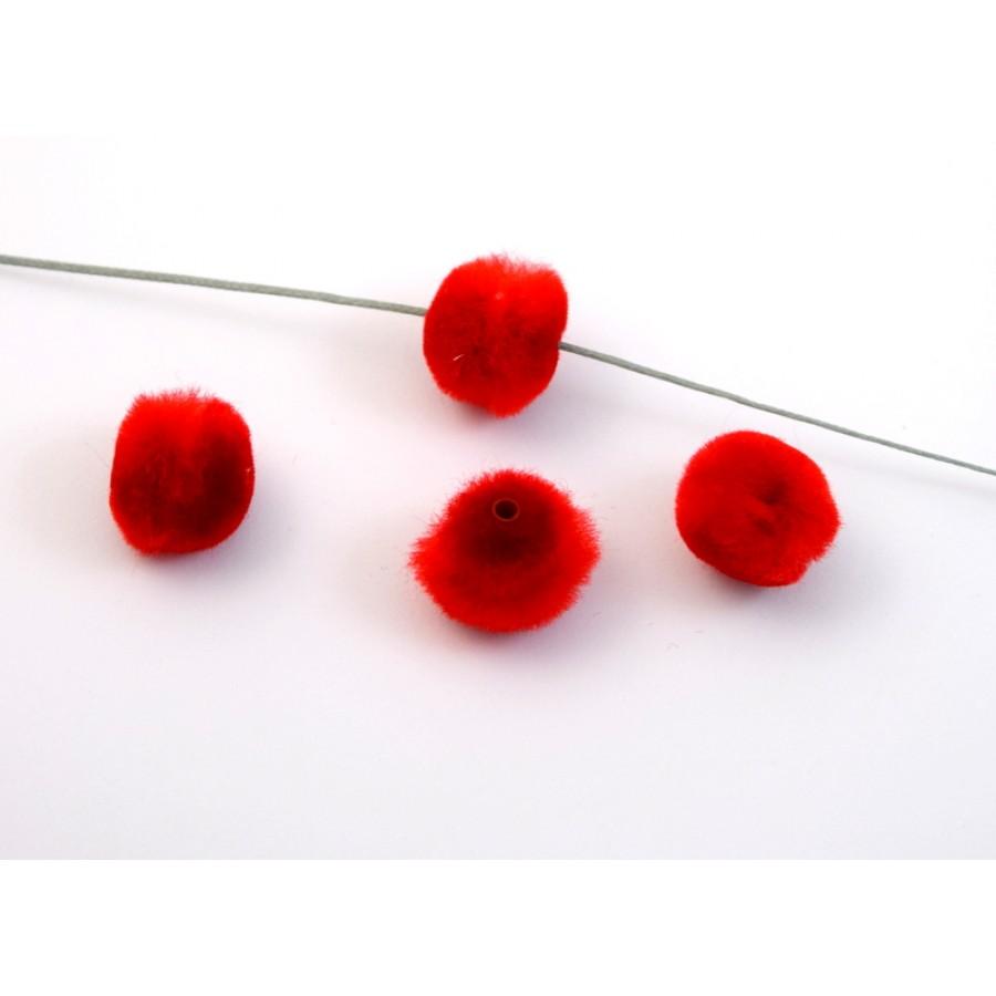 Πον πον  ακρυλικό 15mm με εσωτερικό σωληνάκι σε κόκκινο χρώμα τιμή ανα τεμάχιο