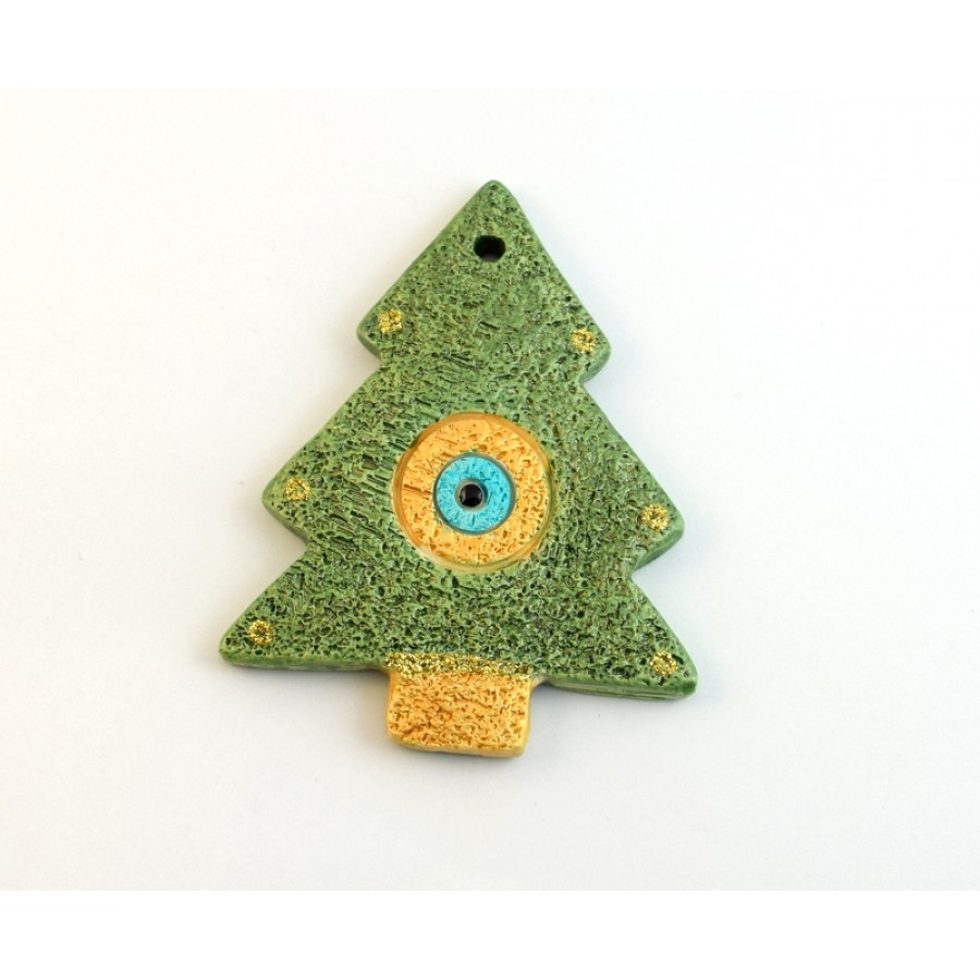 Μεγάλο κεραμικό δέντρο-μάτι σε πρασινο -χρυσαφί ανα τεμάχιο