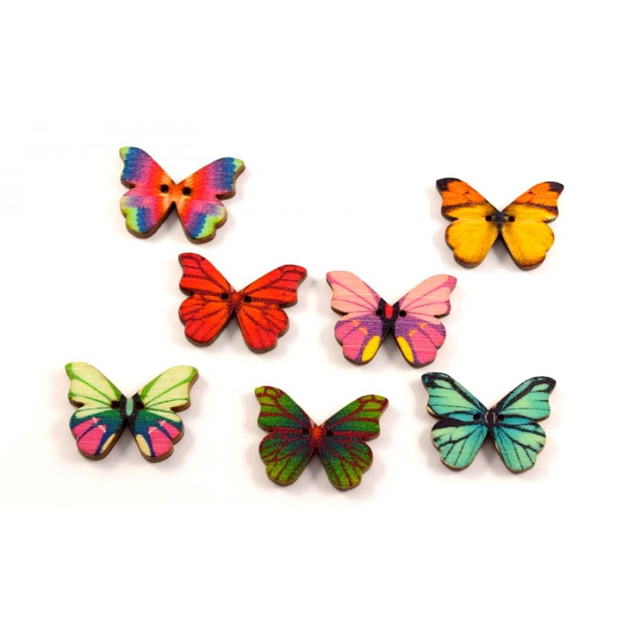 Ξύλινο κουμπί πεταλούδα 27mm σε διάφορα χρώματα-ανα τεμάχιο