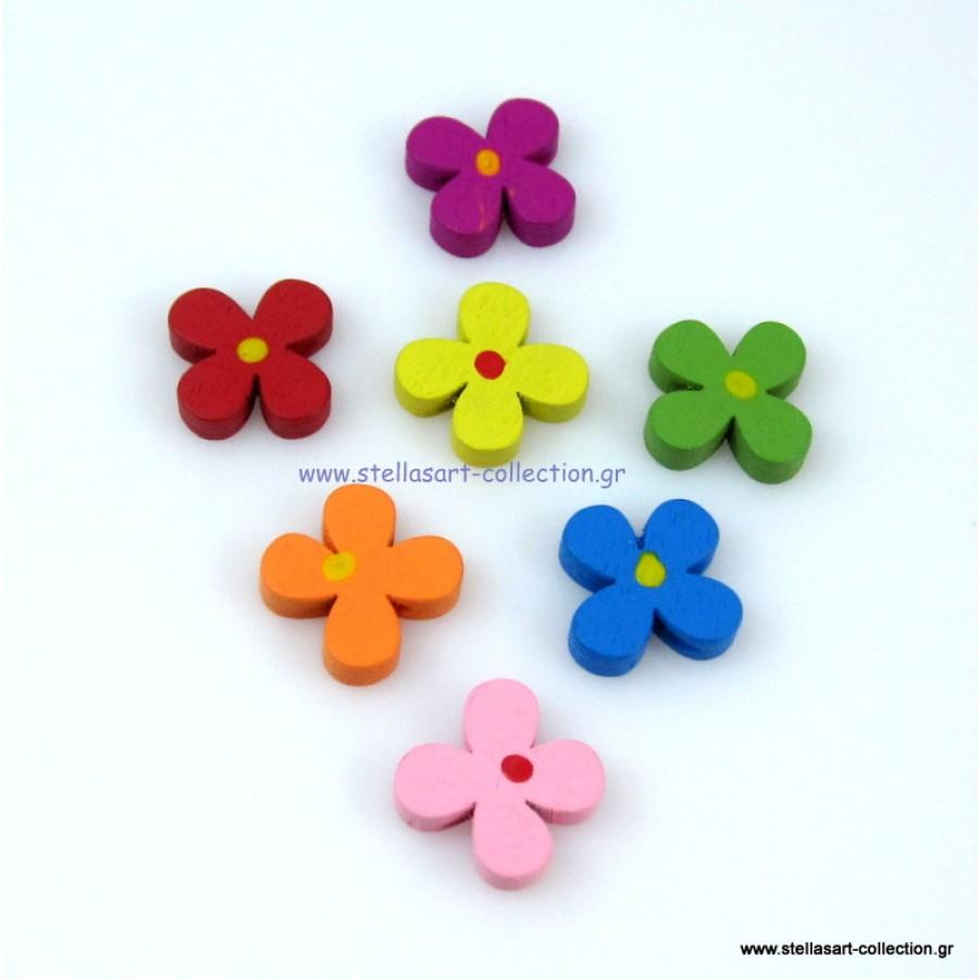 Ξύλινη πολύχρωμη χάντρα λουλουδάκι με τέσσερα πέταλα  με διαμπερή τρύπα η τιμή ειναι ανα τεμάχιο(ένα κομμάτι)