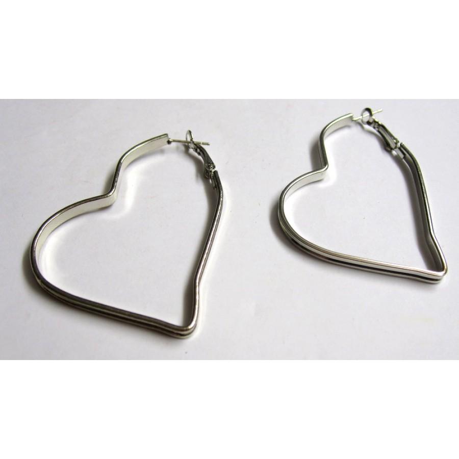 Ασημί μεταλλικοί κρίκοι σε σχήμα καρδιάς 3.7x47x47mm - Η τιμή είναι ανα ζεύγος