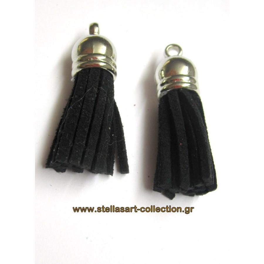 Φούντα 36mm με κρόσια από μαύρο  σουετ και ασημί καπελάκι     τιμη ανα τεμάχιο