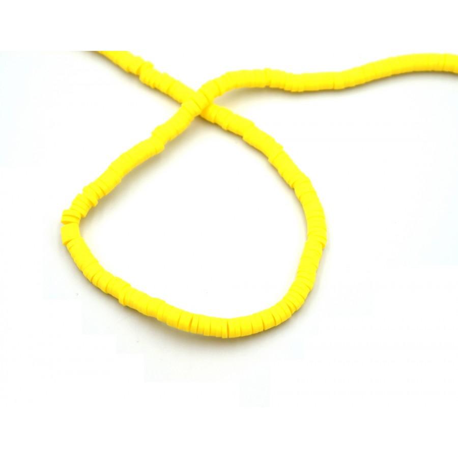Χάντρες ροδέλες καουτσούκ 4mm σε κίτρινο - τιμή ανά σειρά (40 cm)