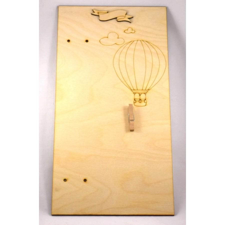 Ξύλινη βάση για λαμπάδα 19*37cm αερόστατο-τιμή ανα τεμάχιο
