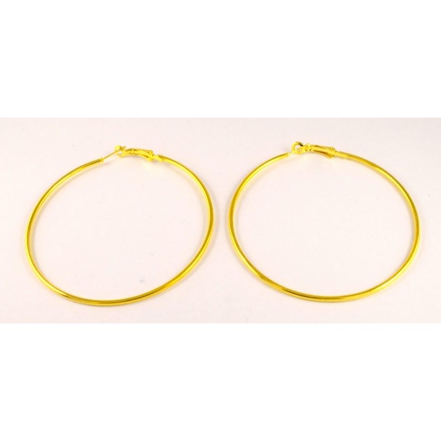Σκουλαρίκια κρίκοι με κουμπωμα NF σε επίχρυσο  70mm Τιμή ανά ζευγάρι