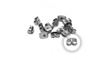 Κούμπωμα σκουλαρικιού-πεταλούδα ατσάλινο 6x5mm ασημί-τιμή ανα 2 κουμπώματα(ζευγάρι)