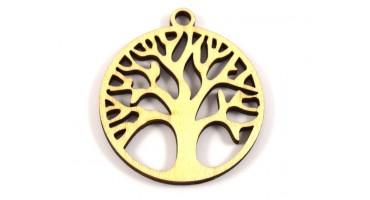 Στρογγυλό ξύλινο δέντρο ζωής σε φυσικό χρώμα-ανα τεμάχιο