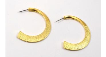 Σκουλαρίκια ημικυκλικά σαγρέ -με καρφί από τιτάνιο-σε επίχρυσο-ανα ζευγάρι