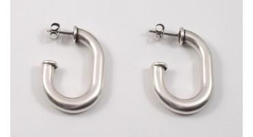 Σκουλαρίκια κρίκος αλυσίδας 3/4 με καρφί τιτανίου ασημί αντικέ τιμή ανα ζευγάρι(με τα κουμπώματα)