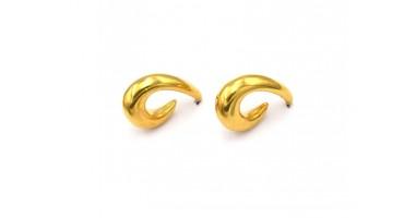 Σκουλαρίκια δάκρυ bold με καρφί από τιτάνιο,επίχρυσα(24Κ)