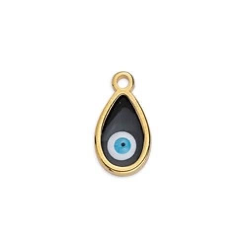 Περίγραμμα μικρό δάκρυ κρεμαστό βιτρώ επίχρυσο με μάτι σε μαύρο χρώμα. Τιμή ανά τεμάχιο