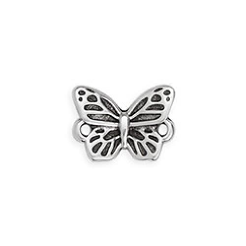 Μεταλλική πεταλούδα 15mm με δυο κρικάκια ασημί αντικέ τιμή ανα τεμάχιο