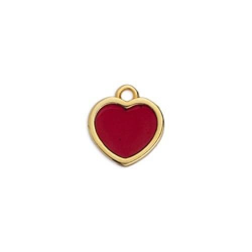 Κρεμαστό καρδιά επιχρυσωμένο 24κ  βιτρώ με μπορντώ σμάλτο - τιμή ανά τεμάχιο