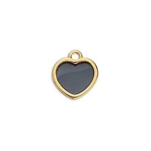 Κρεμαστό καρδιά επιχρυσωμένο 24κ  βιτρώ με μαύρο σμάλτο - τιμή ανά τεμάχιο