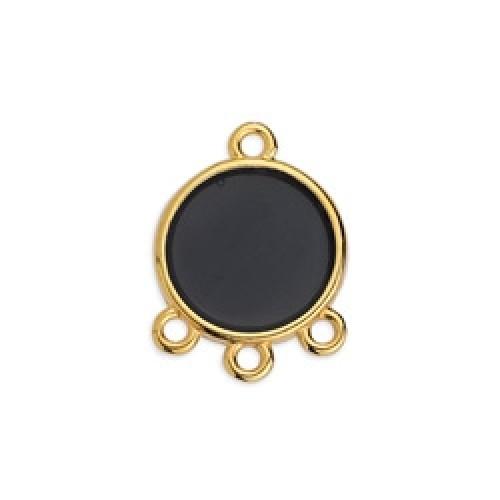 Στρογγυλό κρεμαστό βιτρώ  με 3 κρικάκιαεπίχρυσο με μαύρο χρώμα-ανα τεμάχιο