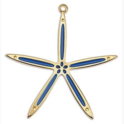 Μοτίφ αστερίας slim 42mm κρεμαστό επιχρυσωμένο 24κ μπλε χρώμα - τιμή ανά τεμάχιο