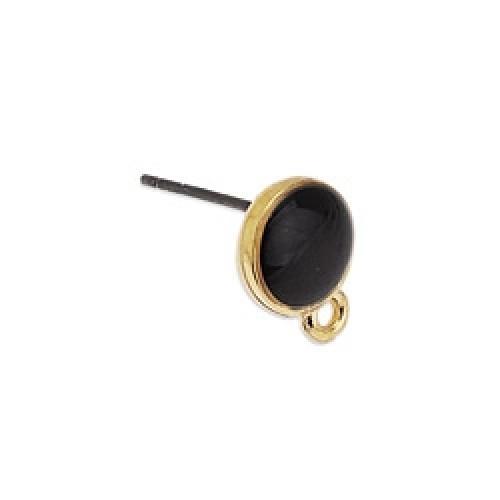 Σκουλαρίκι με 1 κρικάκι επίχρυσο 24κ μαύρο σμάλτο - τιμή ανά ζευγάρι(τα κουμπώματα δεν συμπεριλαμβάνονται)