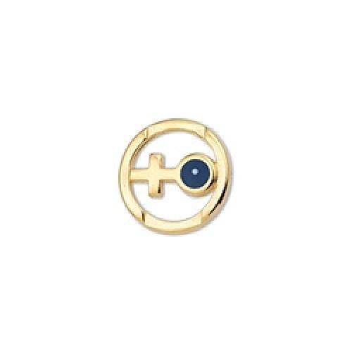 Στρογγυλό μοτίφ 11,5mm με σταυρό και μάτι σε σκούρο μπλε σμάλτο τιμή ανα τεμάχιο