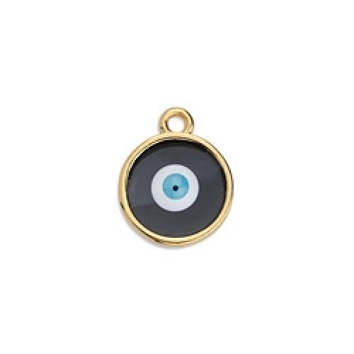 Περίγραμμα μεσαίο στρογγυλό κρεμαστό βιτρώ επίχρυσο με μάτι σε χρώμα μαύρο. Τιμή ανά τεμάχιο