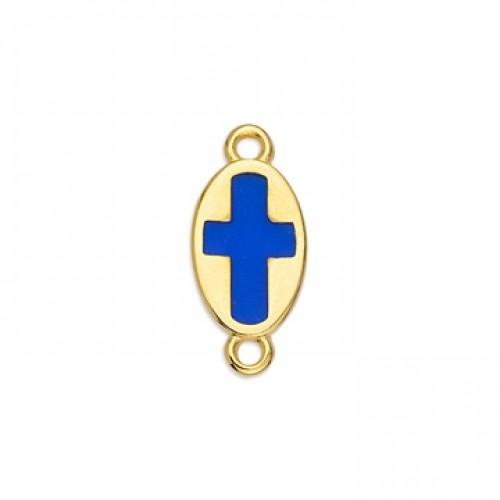 Μοτίφ οβάλ σταυρός βιτρώ διπλής όψης επίχρυσος  με δύο κρικάκια σε μπλε ρουα σμάλτο-ανα τεμάχιο