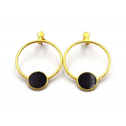 Σκουλαρίκι κρίκος με κύκλο επιχρυσωμένο (24k) - τιμή ανά ζευγάρι