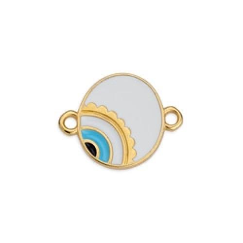 Μεταλλικό μοτίφ στρογγυλό με μάτι ασύμμετρο με 2 κρικάκια επίχρυσο σε λευκό σμάλτο τιμή ανα τεμάχιο