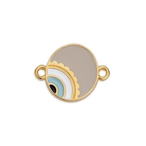 Μεταλλικό μοτίφ στρογγυλό  με μάτι ασύμμετρο με 2 κρικάκια επίχρυσο σε dusty pink σμάλτο-ανα τεμάχιο