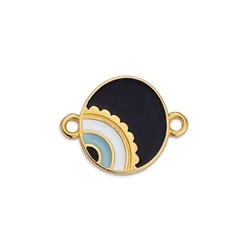 Μεταλλικό μοτίφ στρογγυλό με μάτι ασύμμετρο με 2 κρικάκια επίχρυσο σε μαύρο σμάλτο-ανα τεμάχιο