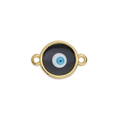 Περίγραμμα μεσαίο στρογγυλό βιτρώ  μάτι επίχρυσο με 2 κρικάκια σε μαύρο χρώμα τιμή ανά τεμάχιο