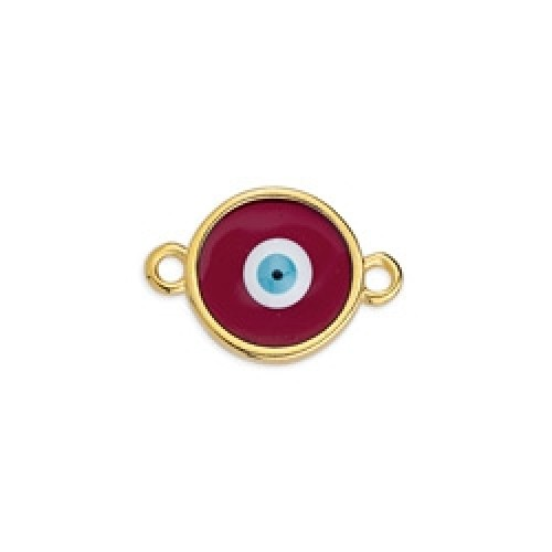 Περίγραμμα μεσαίο στρογγυλό βιτρώ μάτι επίχρυσο με 2 κρικάκια σε μπορντώ χρώμα ανά τεμάχιο