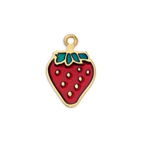 Μοτίφ φράουλα κρεμαστό διπλής όψης επιχρυσωμένο 24κ - τιμή ανά τεμάχιο