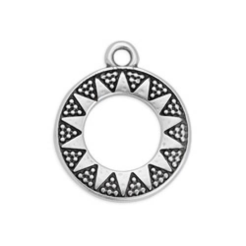 Κρεμαστό μενταγιόν κρίκος τρίγωνα με κουκίδες σε ασημί αντικέ - τιμή ανά τεμάχιο