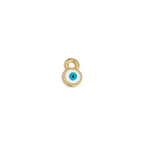 Μεταλλικό μοτίφ στρογγυλό μάτι μίνι κρεμαστό επιχρυσωμένο 24κ - τιμή ανά τεμάχιο