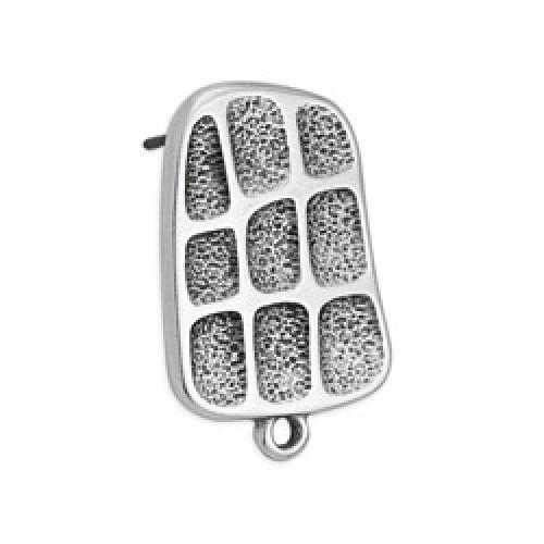 Σκουλαρίκι με τετράγωνα & ανάγλυφη υφή με καρφί τιτανίου ασημί αντικέ - τιμή ανά ζευγάρι