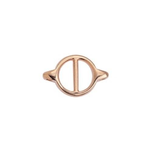 Εξάρτημα στρογγυλό σε σχήμα Θ με 2 κρικάκια ροζ χρυσό-ανα τεμάχιο