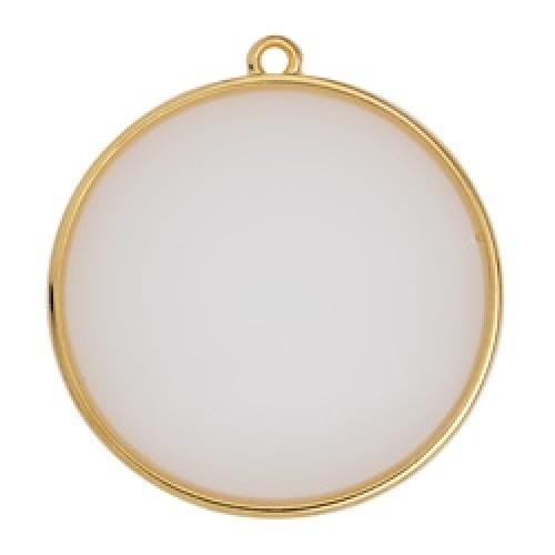 Κύκλος περίγραμμα Bιτρω λευκό οπάλ 30mm κρεμαστό - τιμή ανά τεμάχιο