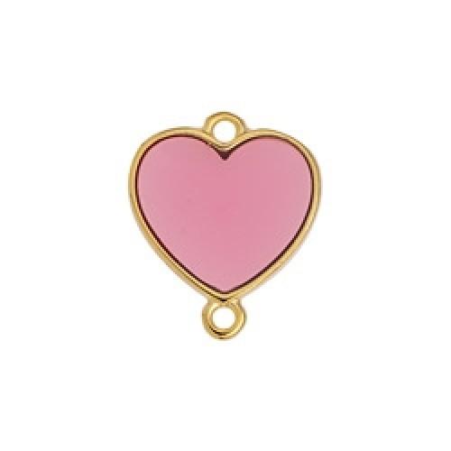 Μοτίφ καρδιά περίγραμμα Βιτρώ με 2 κρικάκια ροζ χρώμα - τιμή ανά τεμάχιο