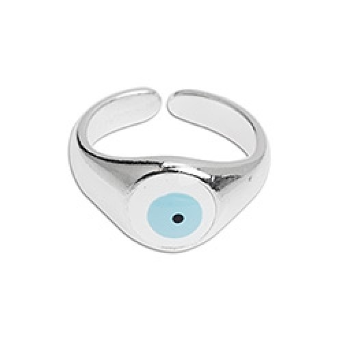 Μεταλλικό δαχτυλίδι 10,7 x 20,9 mm με μάτι σε λευκό σμάλτο,ασημί αντικέ-ανα τεμάχιο