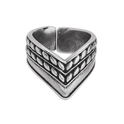 Δαχτυλίδι V στριφτό διπλό 17mm επάργυρο σε ασημί αντικέ - τιμή ανά τεμάχιο